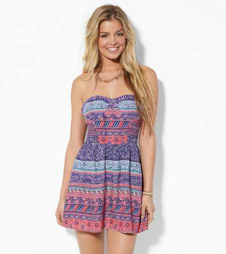 AE Strapless Printed Corset Dress