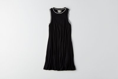 Tipped Hi-Neck Shift Dress