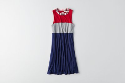 Colorblock Hi-Neck Shift Dress