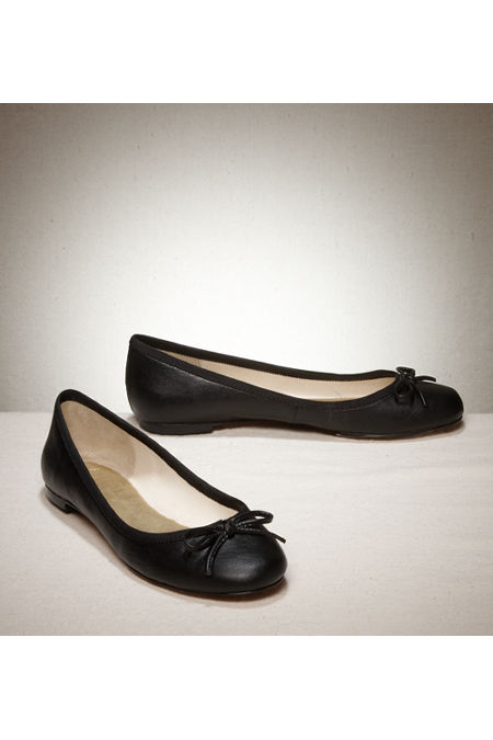 Flat Leather Shoe With Grosgrain Bow