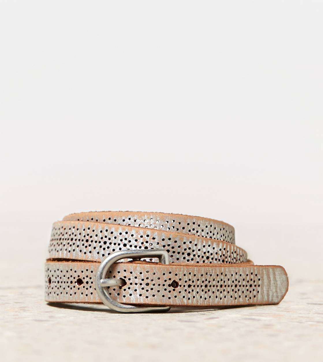 Silver AEO Metallic Leather Belt
