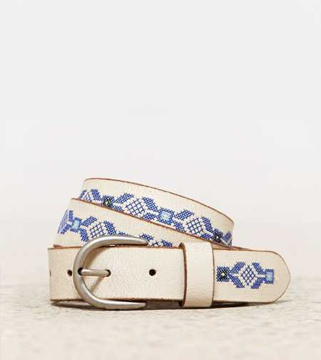 AEO Embroidered Whitewash Belt