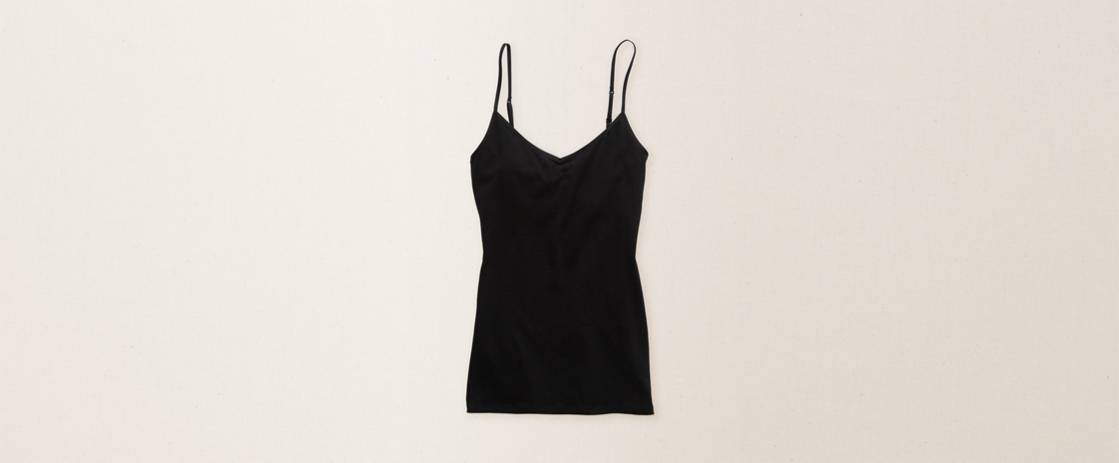True Black Aerie Girly V-Neck Tank