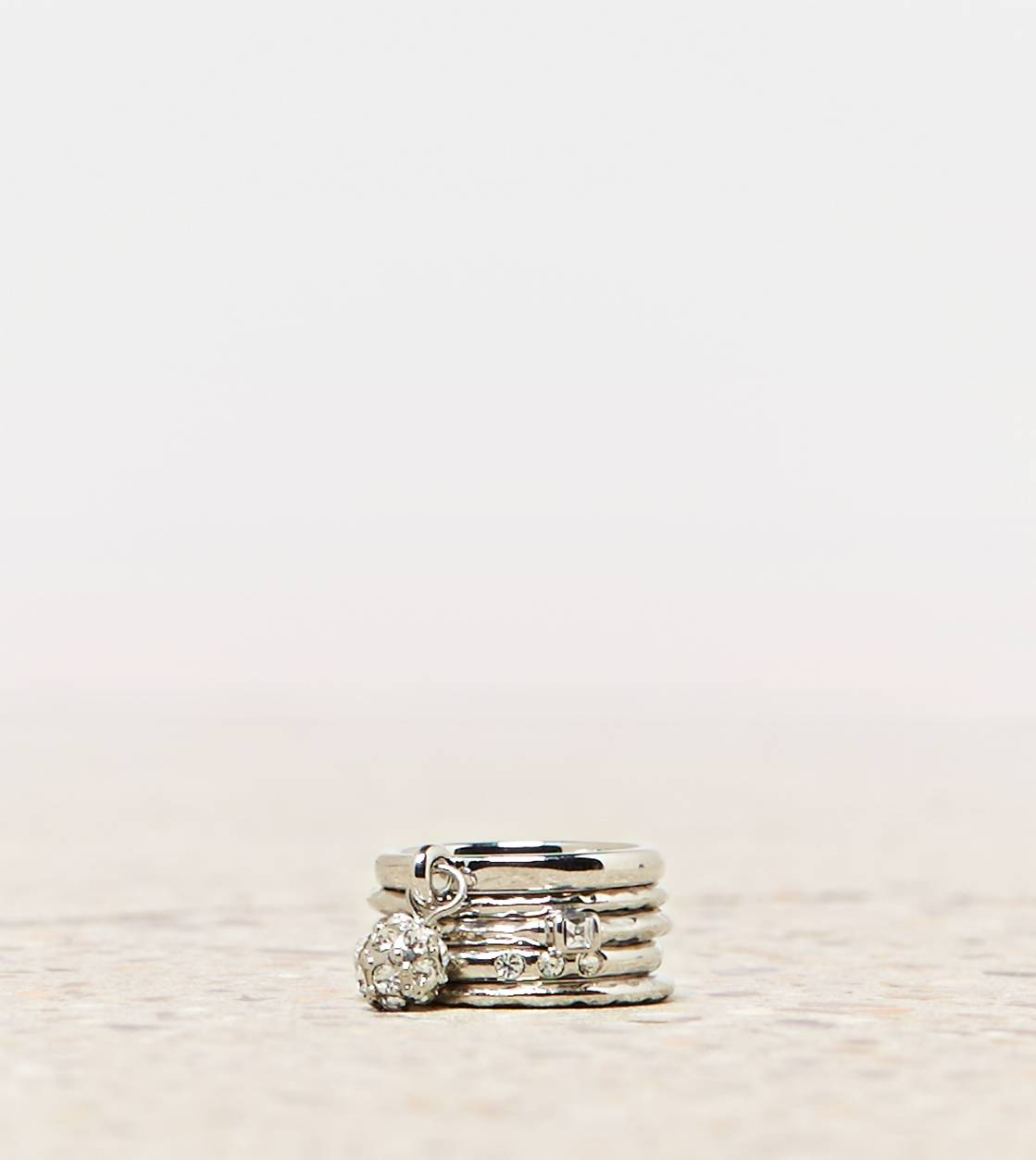 Silver AEO Stacking Ring Set