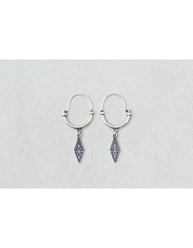 AEO Diamond Dangle Hoop Earrings  -