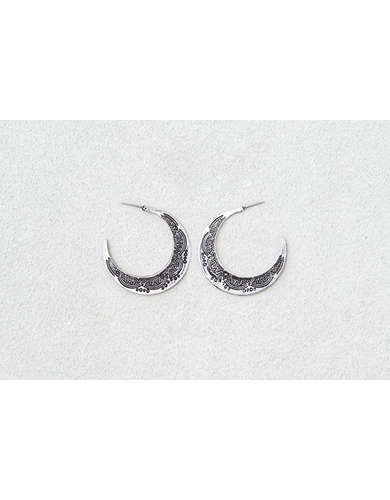 AEO Etched Large Silver Hoops  -
