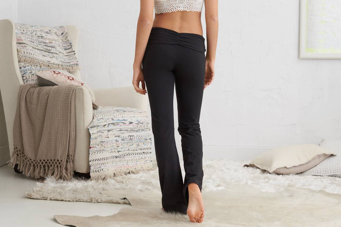 True Black Aerie Boot Crossover Yoga Pant