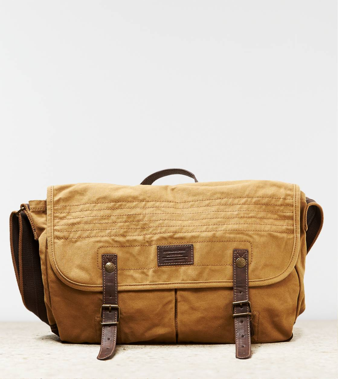 Khaki AEO Buckled Messenger Bag