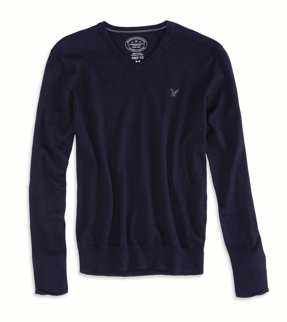 Deep Navy AEO Factory V-Neck Sweater