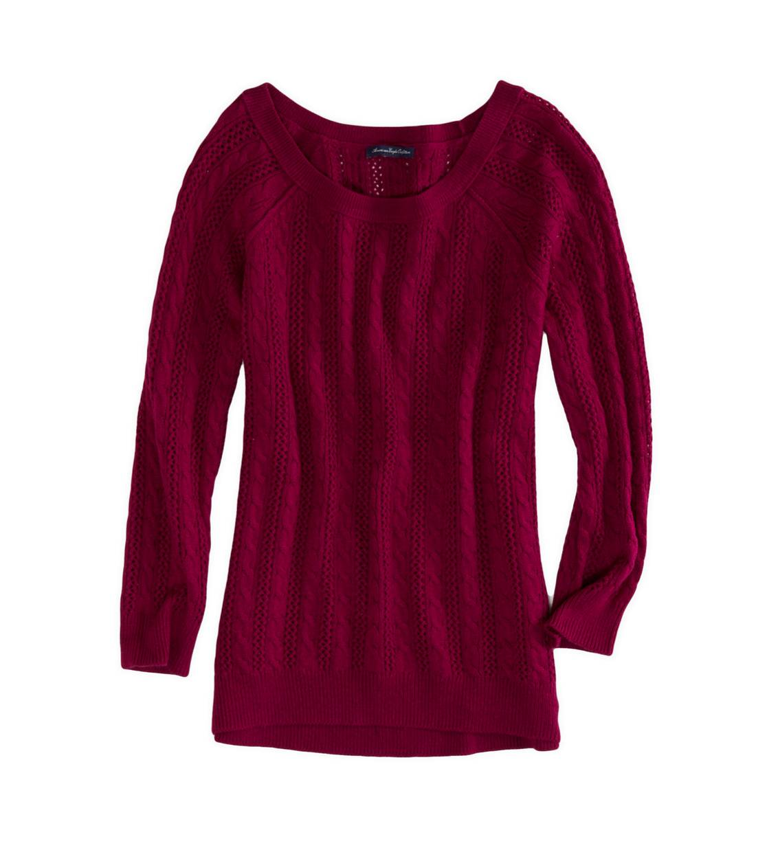 Berry Gem AEO Factory Cable Knit Crew Sweater