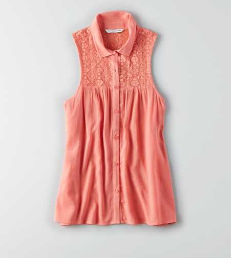 AEO Sleeveless Lace Shirt