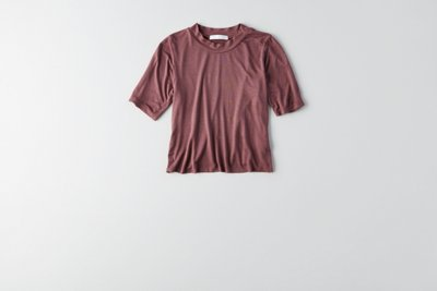Mock Neck Cropped T-Shirt