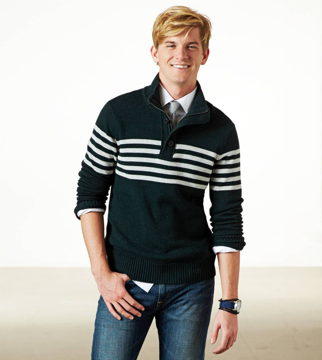 Pine Tree Marl AE Fireside Striped Mock Neck Sweater