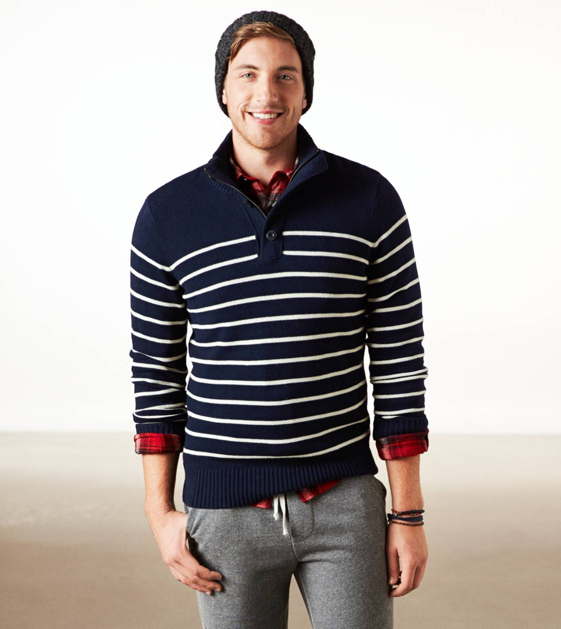 Deep Deep Navy AE Fireside Striped Mock Neck Sweater