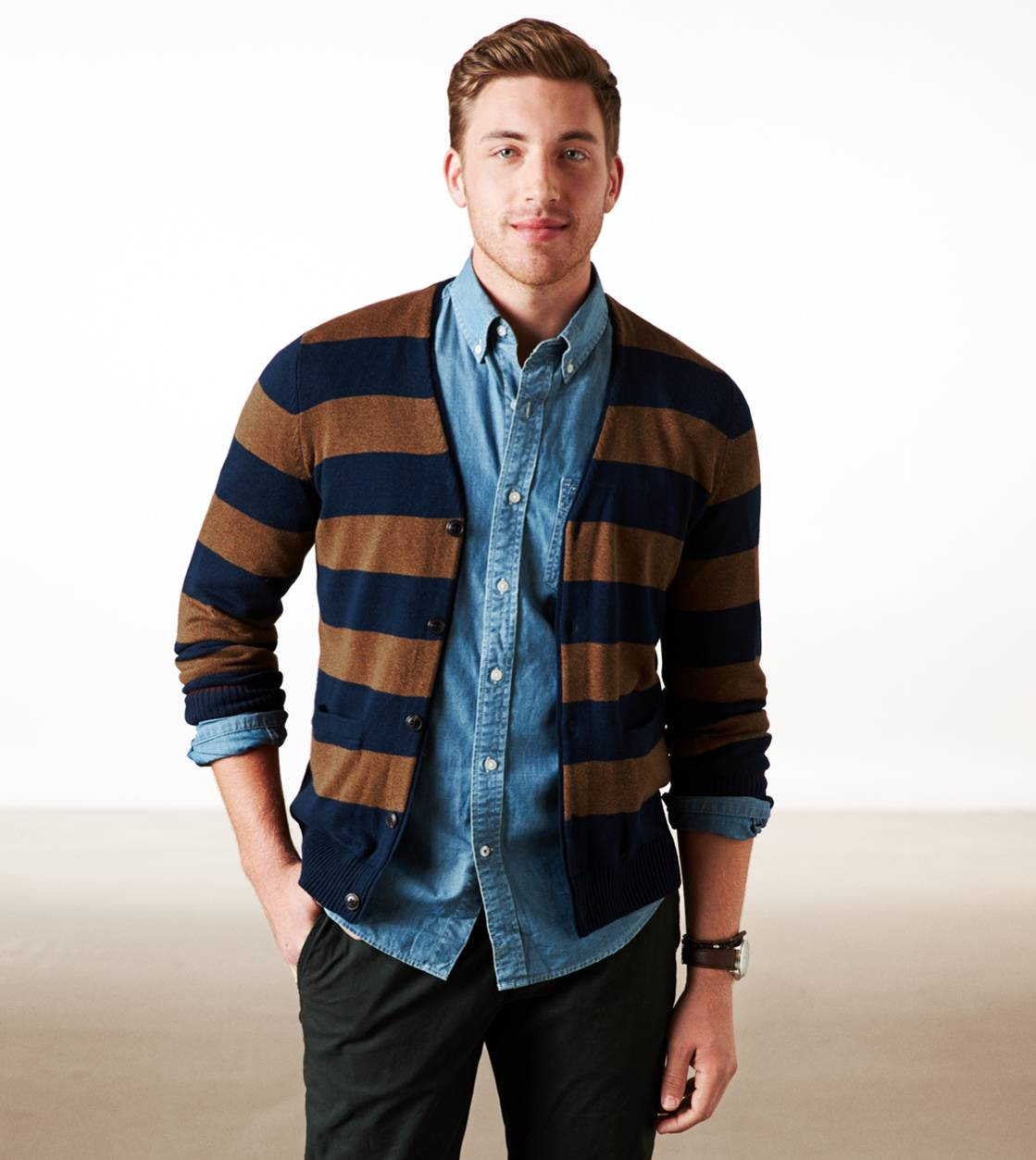 Teal AE Striped Cardigan