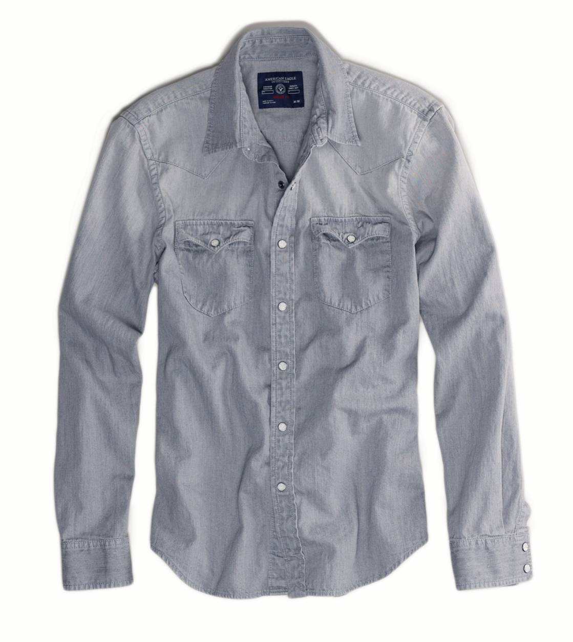 Grey AE Grey Denim Western Shirt