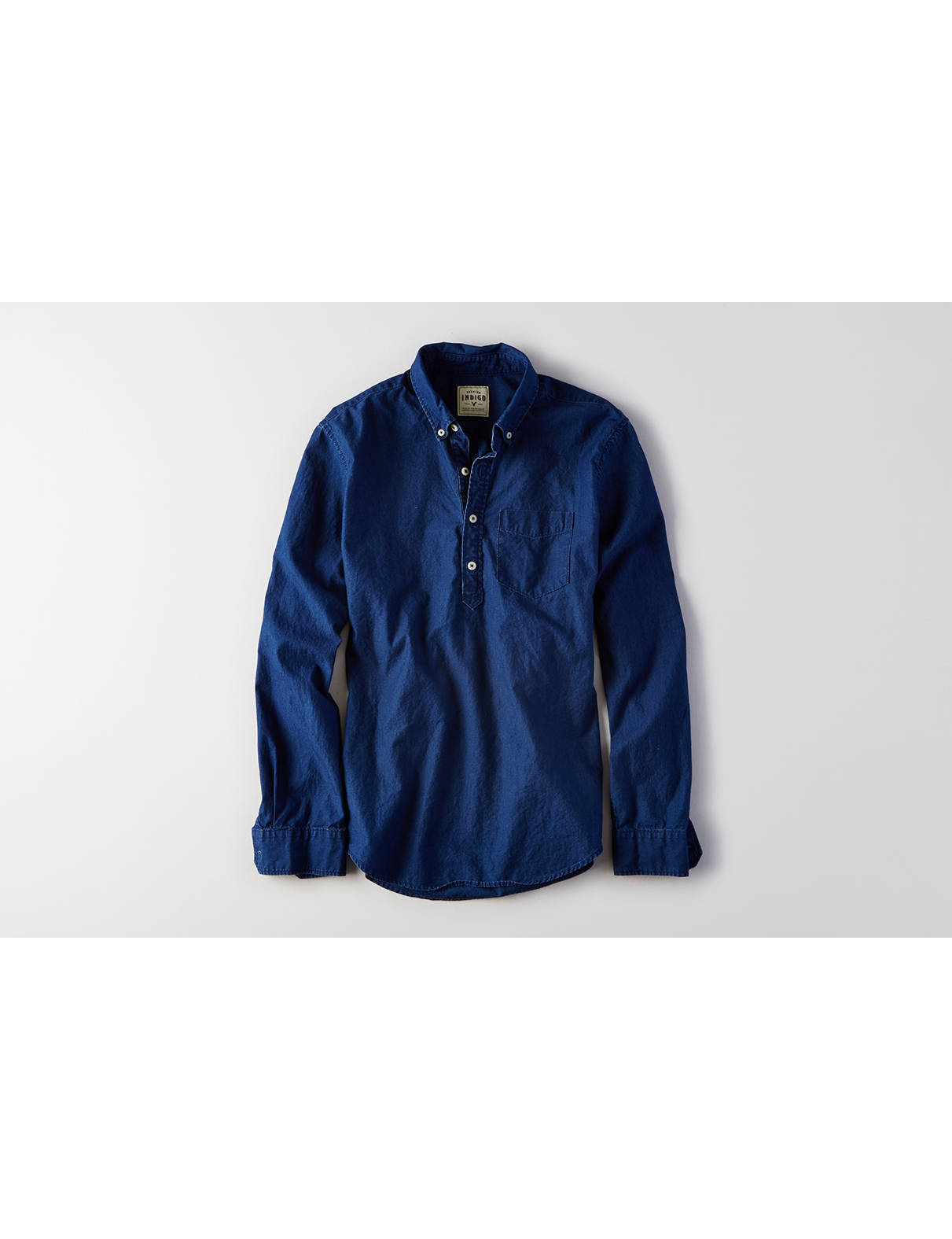Display product reviews for AEO Indigo Popover Shirt