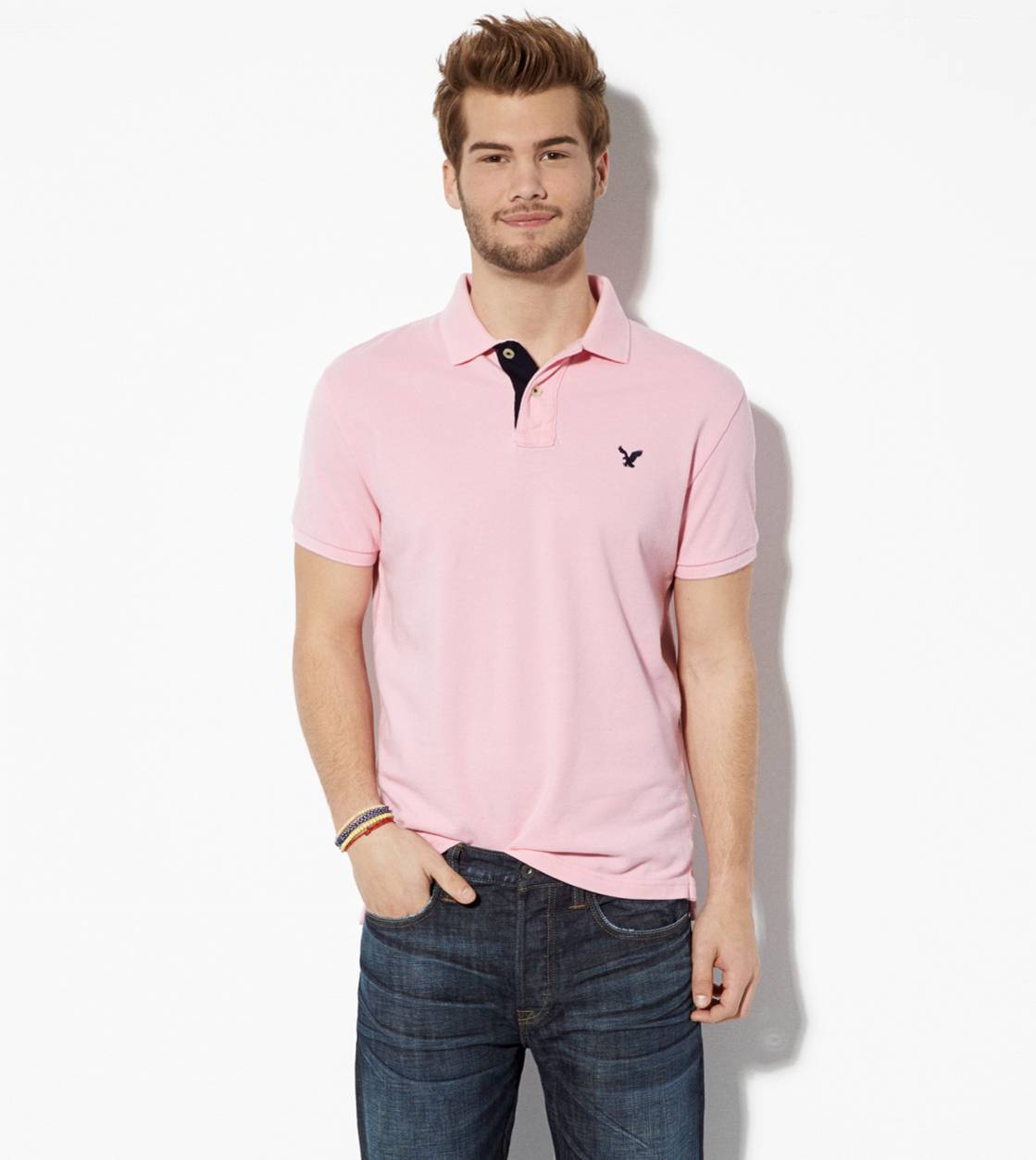 Pink Bath AE Contrast Placket Polo