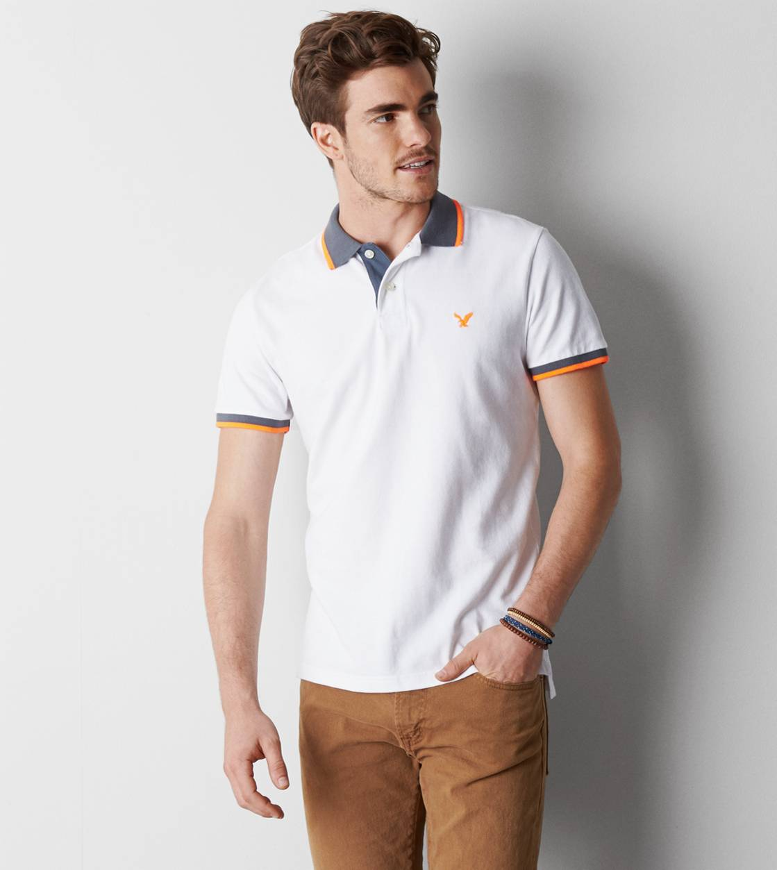 White  AE Tipped Polo