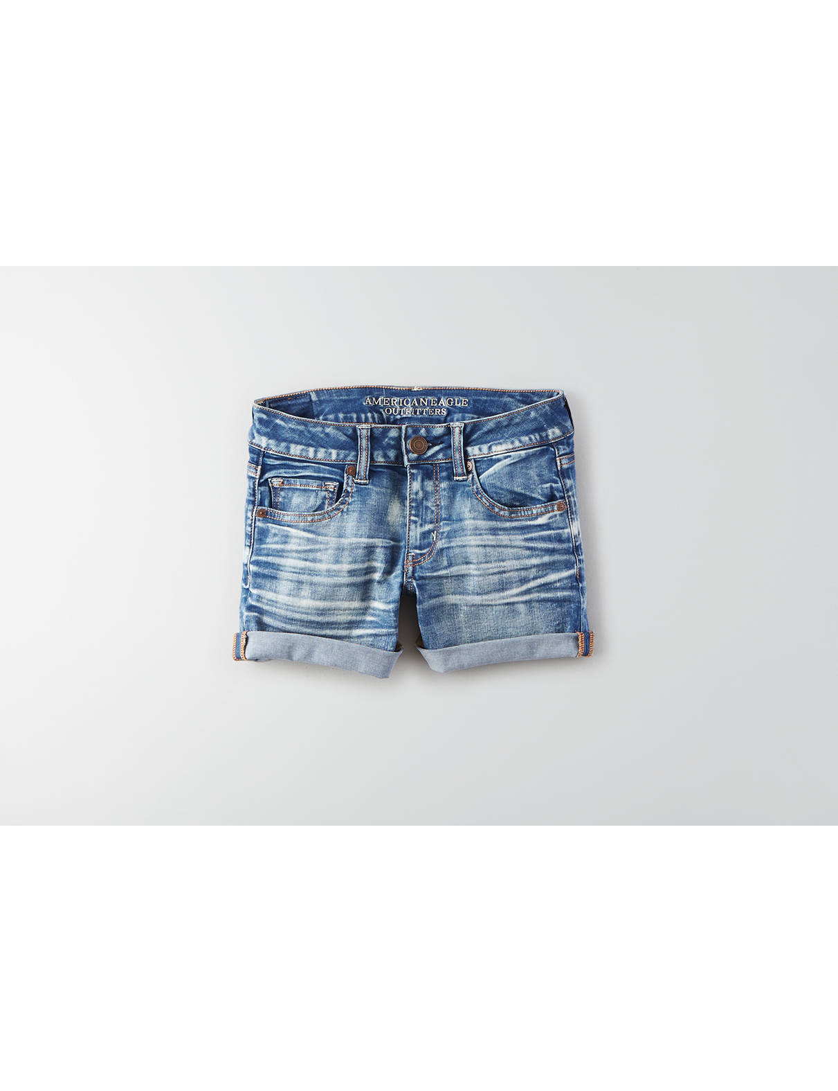 Display product reviews for AEO Denim Midi Short