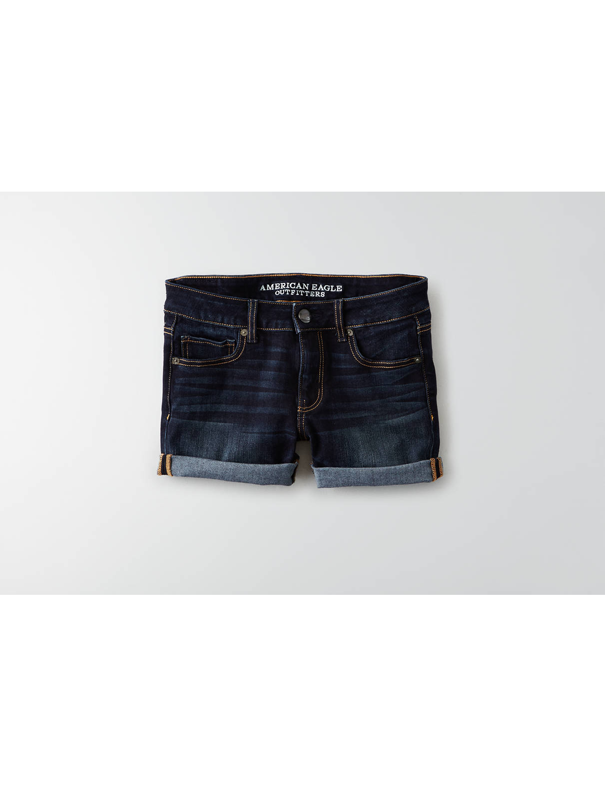 Display product reviews for AEO Denim X4 Denim Midi Short