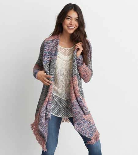 AEO Space Dye Waterfall Cardigan