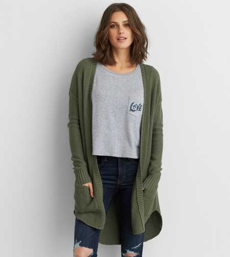 AEO Long Pocket Cardigan