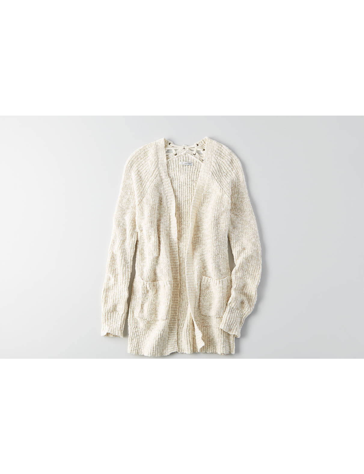 Display product reviews for AEO Lace-Up Back Cardigan
