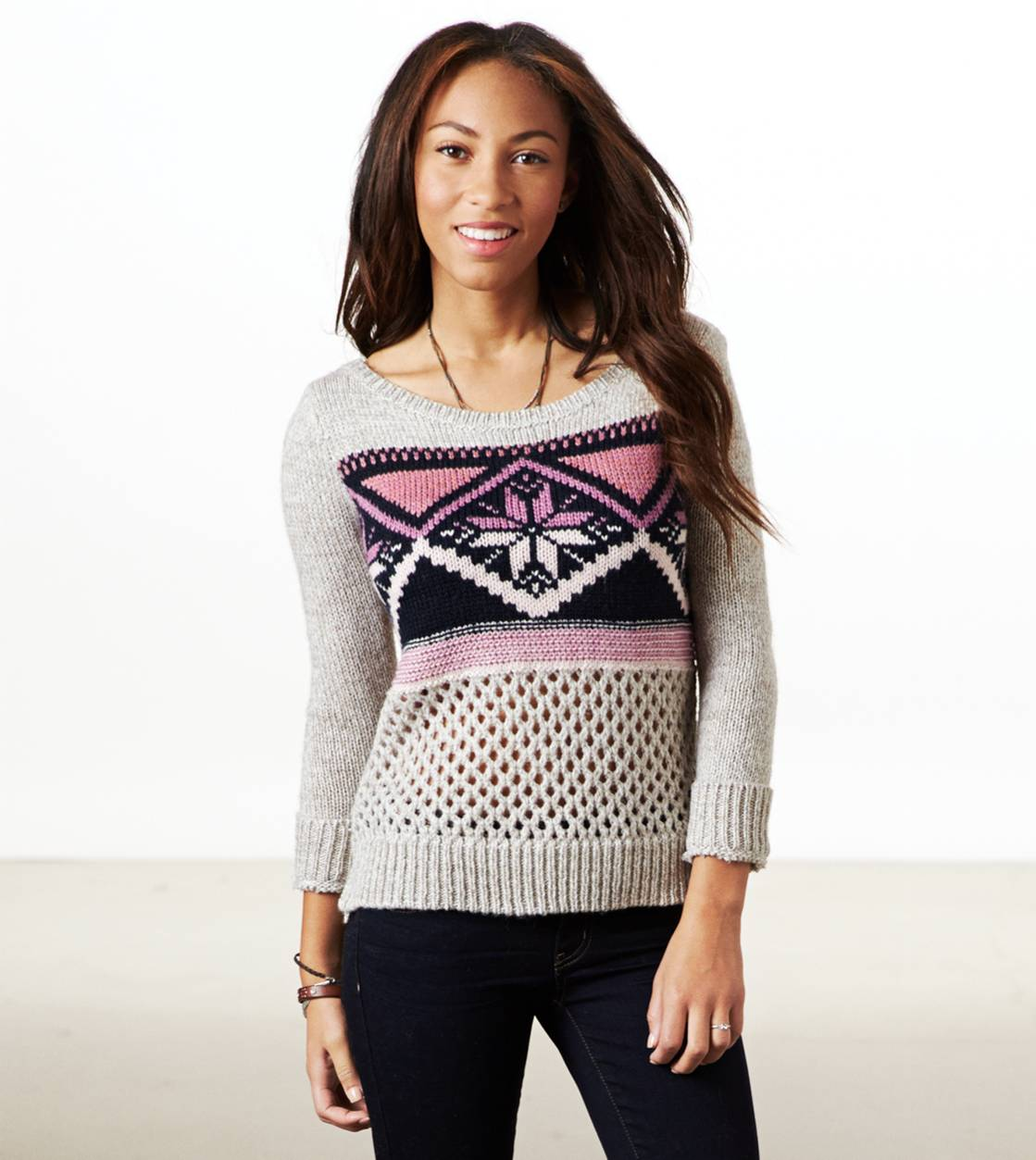Oatmeal AE Fair Isle Crew Sweater