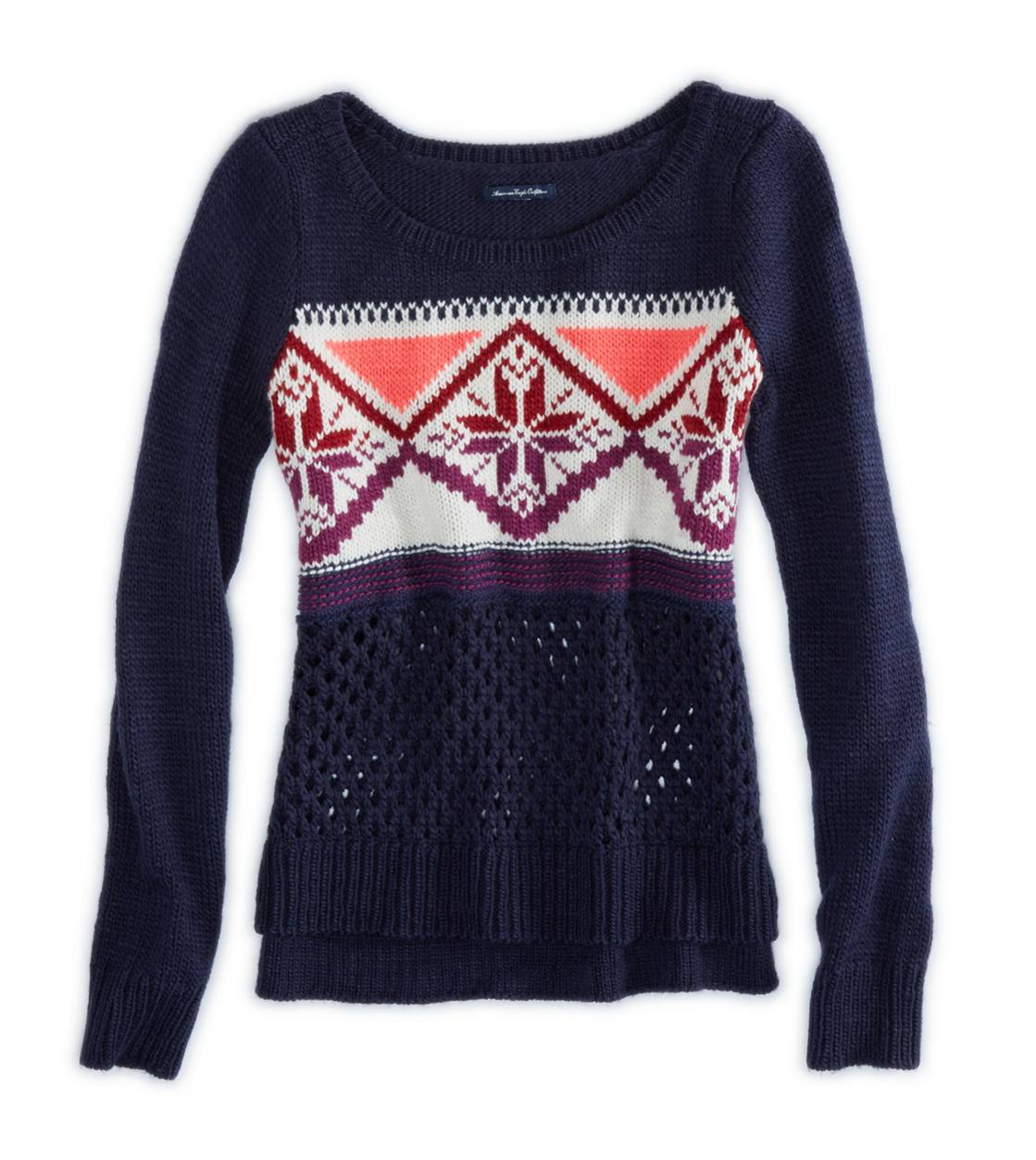 Navy AE Fair Isle Crew Sweater