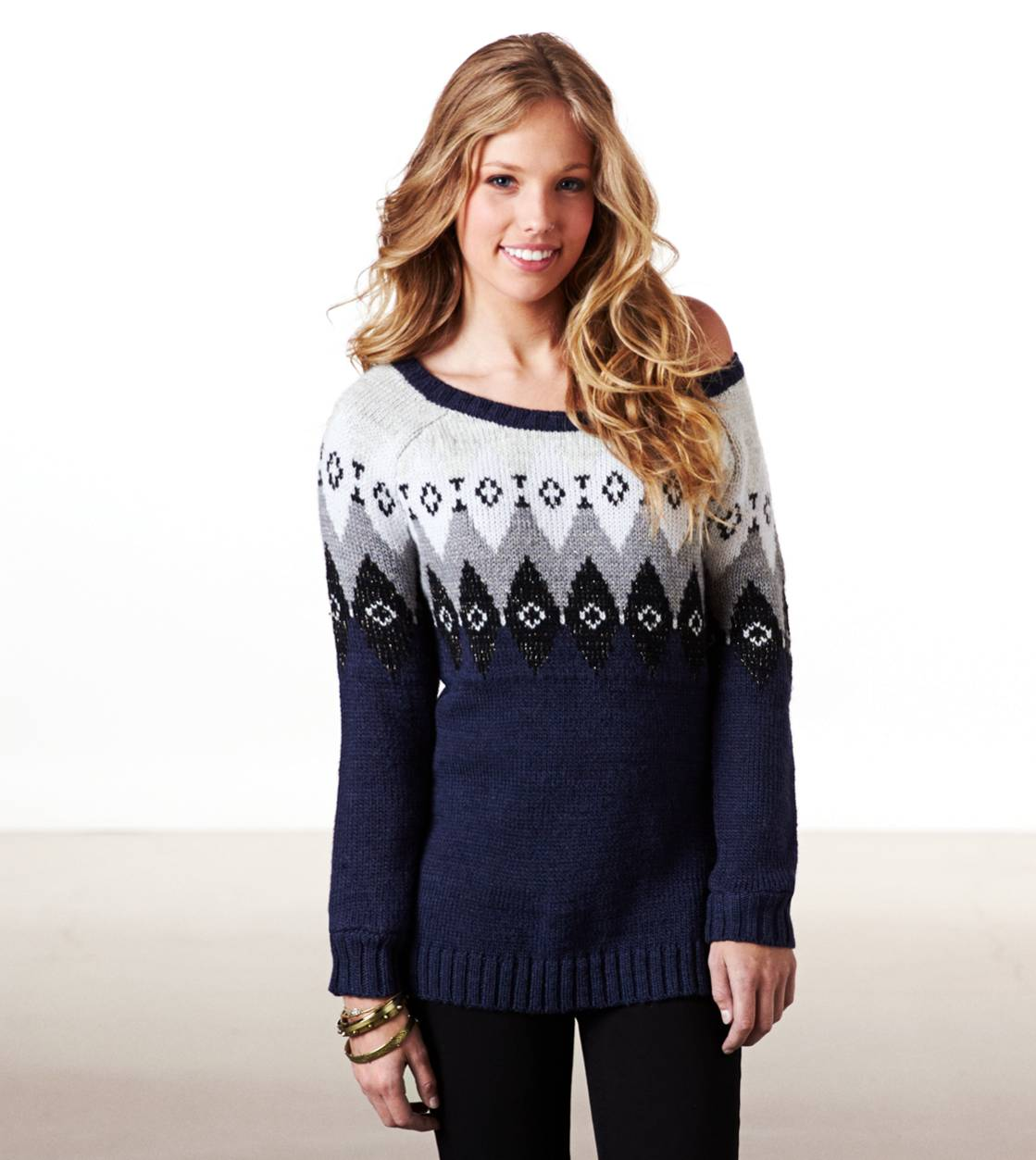 Navy AE Metallic Fair Isle Sweater