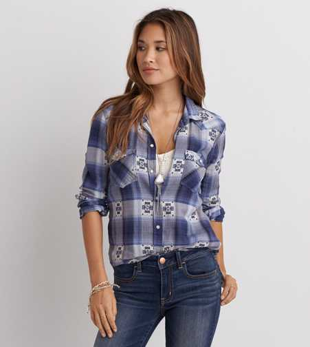 AEO Western Plaid Boyfriend Shirt