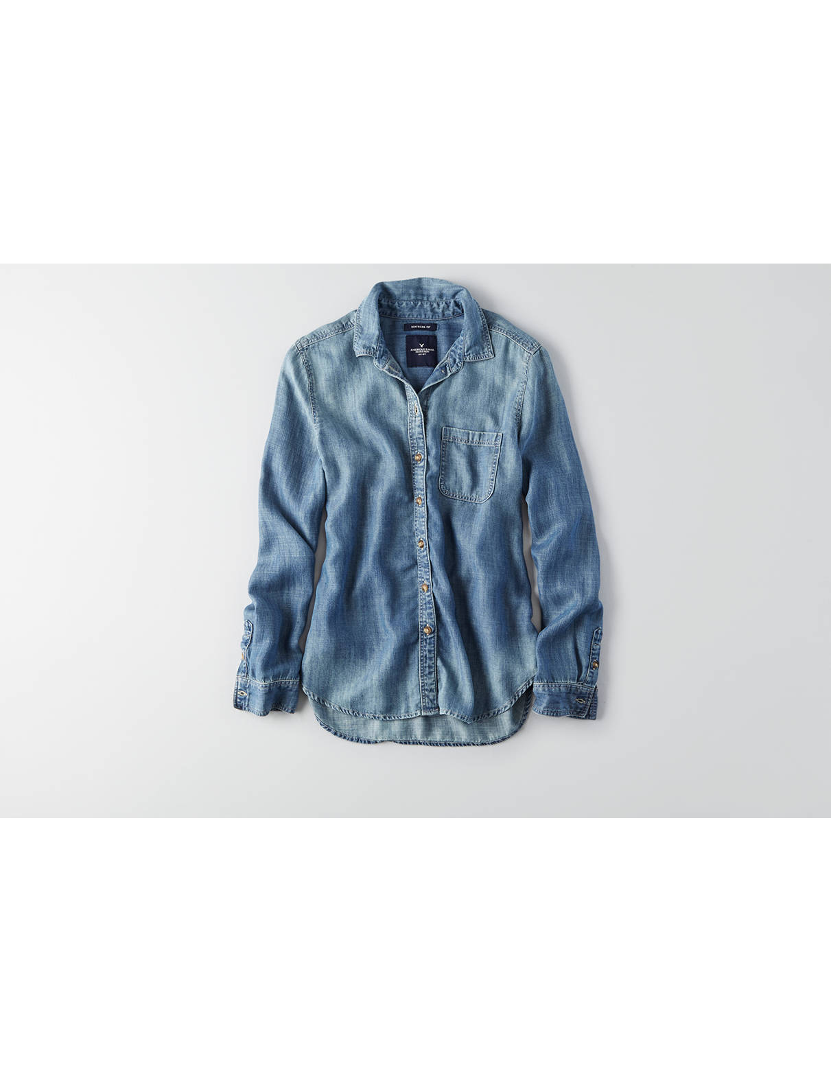 Display product reviews for AEO Denim Boyfriend Shirt