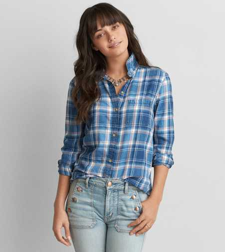 AEO Boyfriend Plaid Shirt