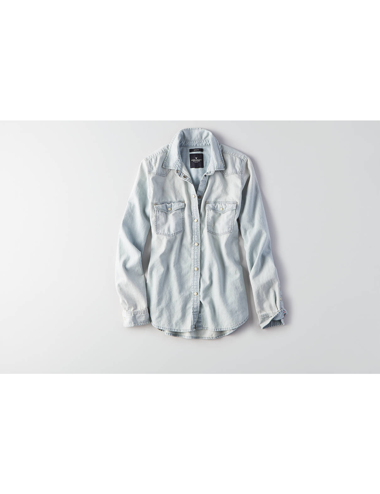 Display product reviews for AEO Solid Western Boyfriend Shirt