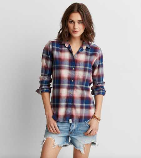 AEO Plaid Boyfriend Shirt