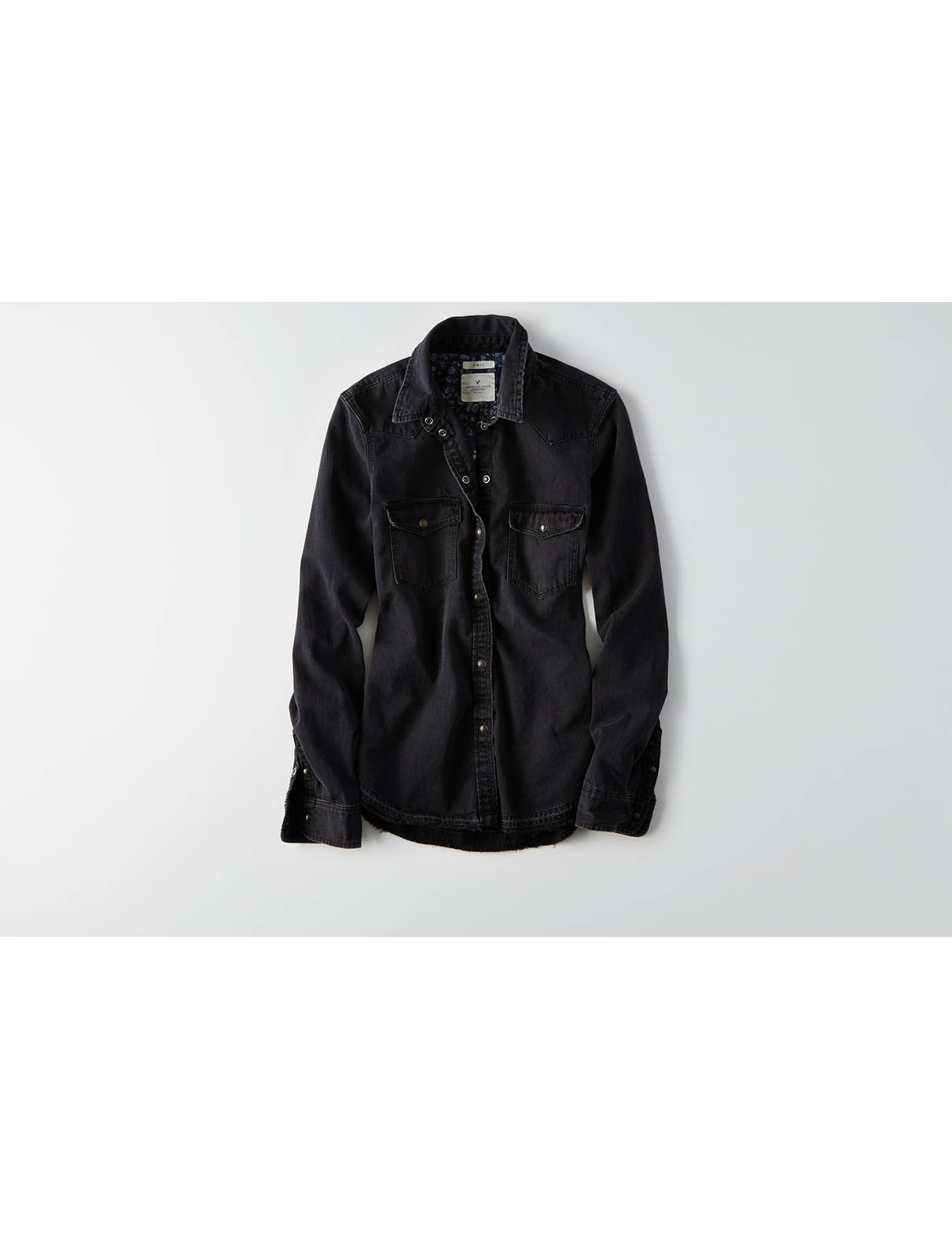 Display product reviews for AEO Slim Black Denim Shirt