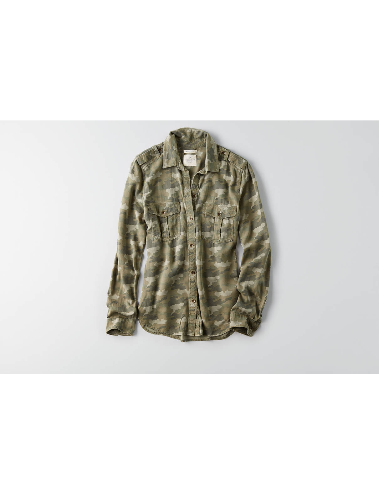 Display product reviews for AEO Camouflage Utility Shirt