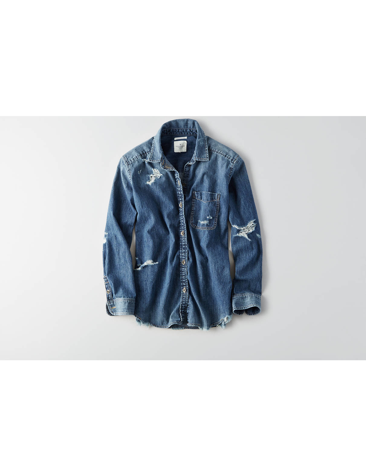 Display product reviews for AEO Oversized Denim Shirt