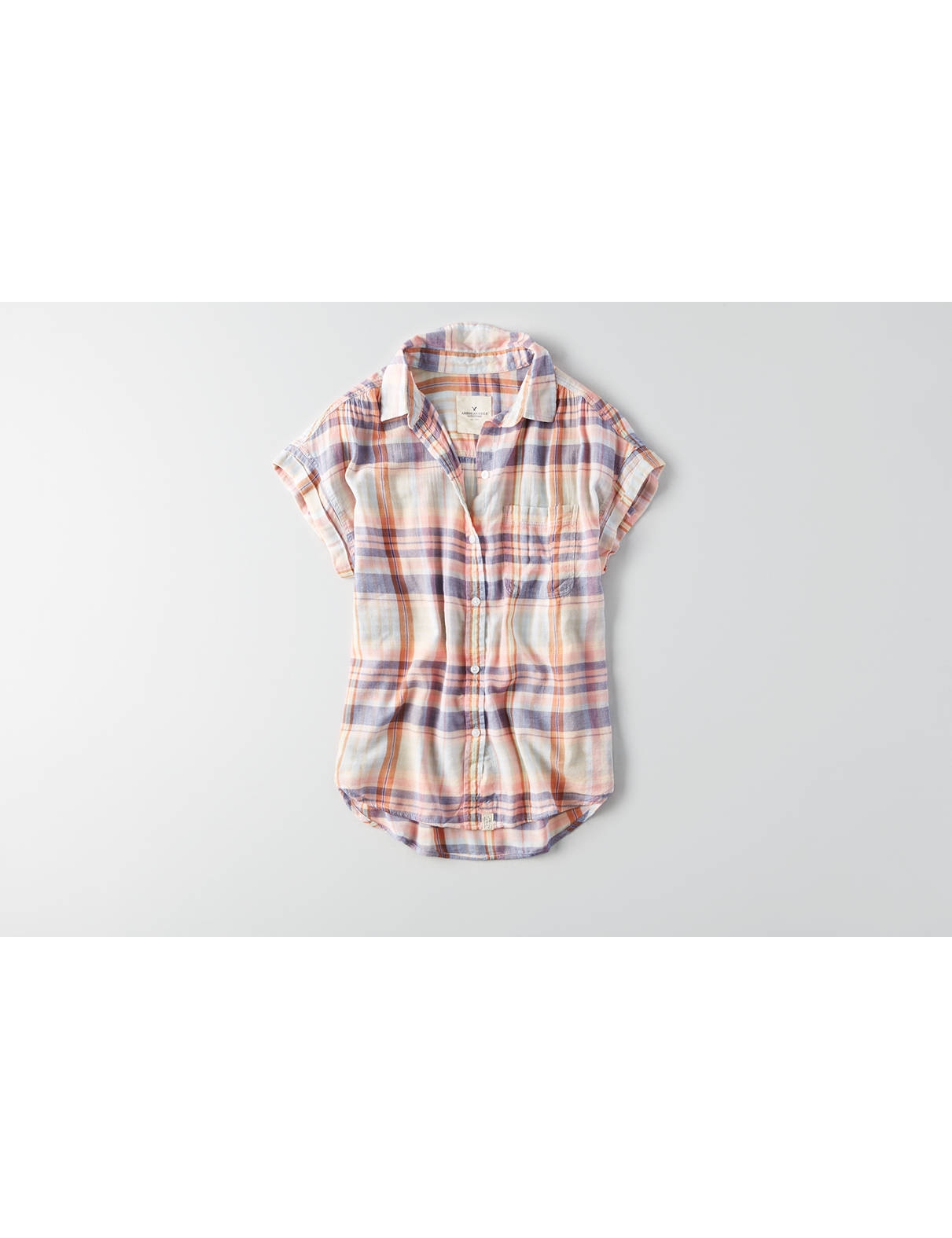 Display product reviews for AEO Short Sleeve Plaid Shirt