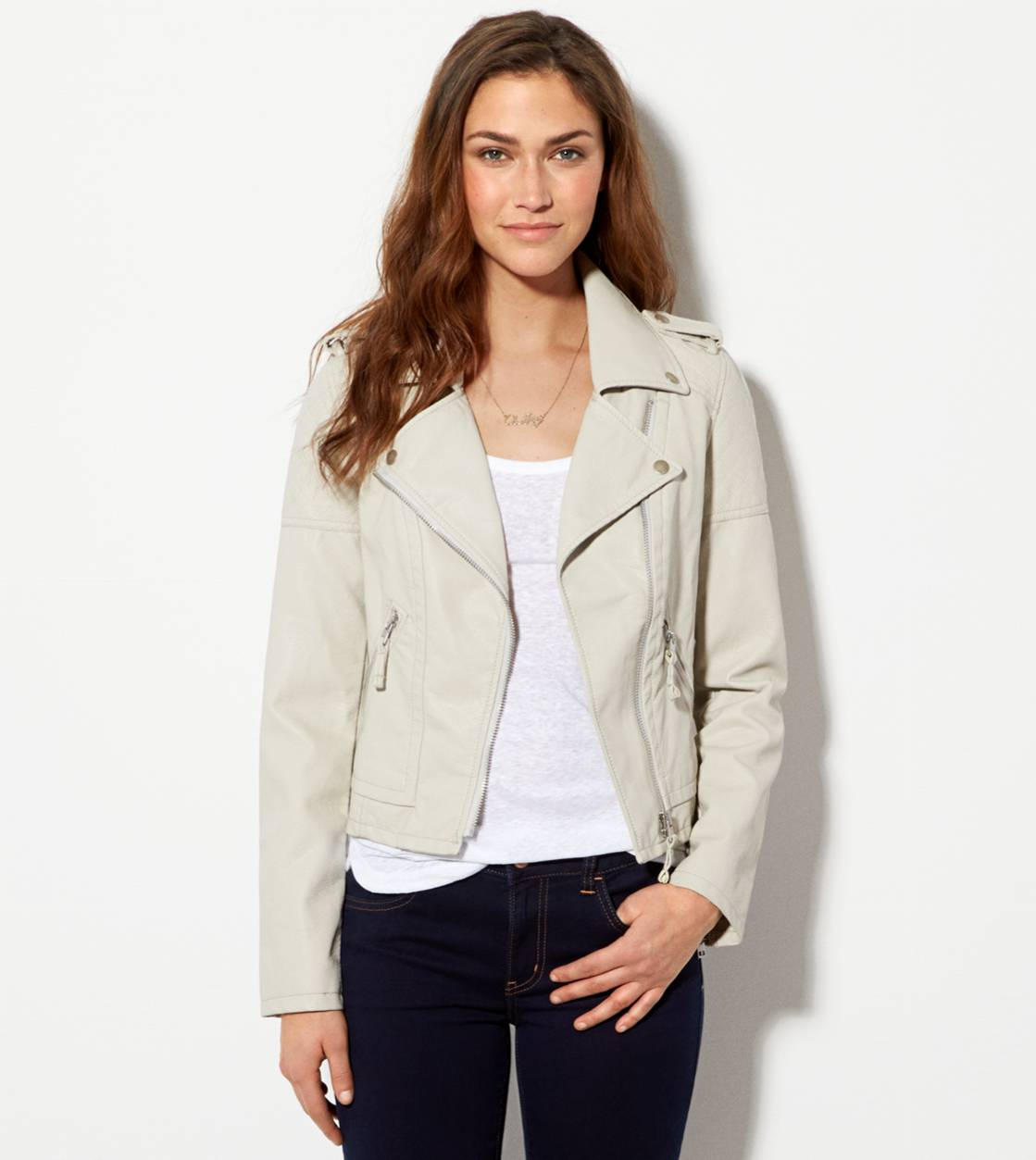 Grey AE Vegan Leather Moto Jacket