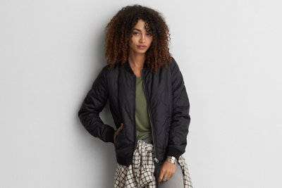 Quilted Lined Bomber Jacket