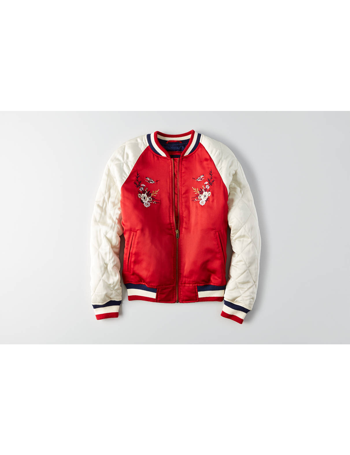 Display product reviews for AEO Embroidered Raglan Bomber Jacket