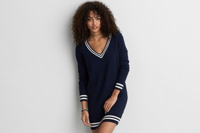 Tipped Sweater Dress