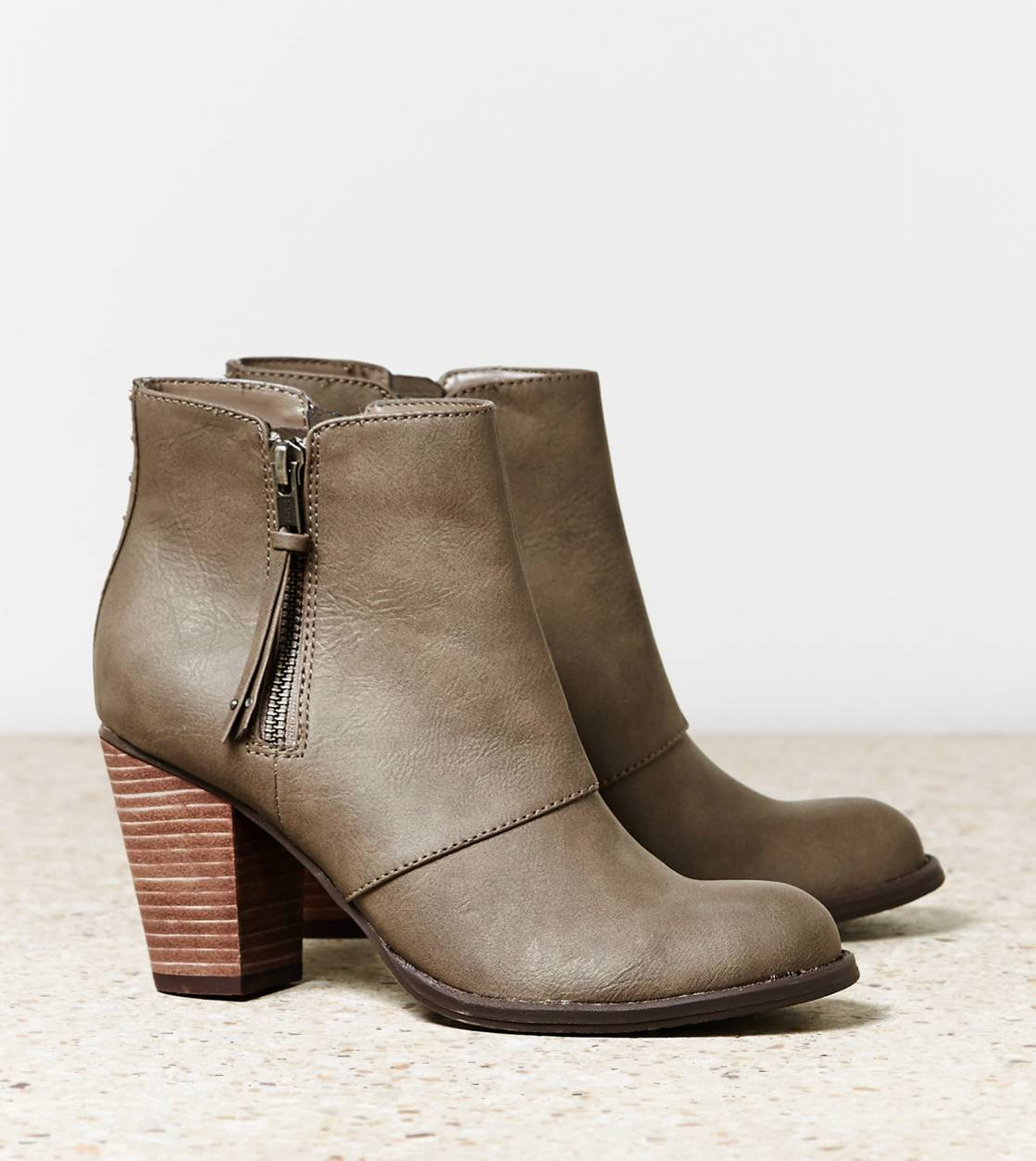 Grey AEO Double Zip Bootie