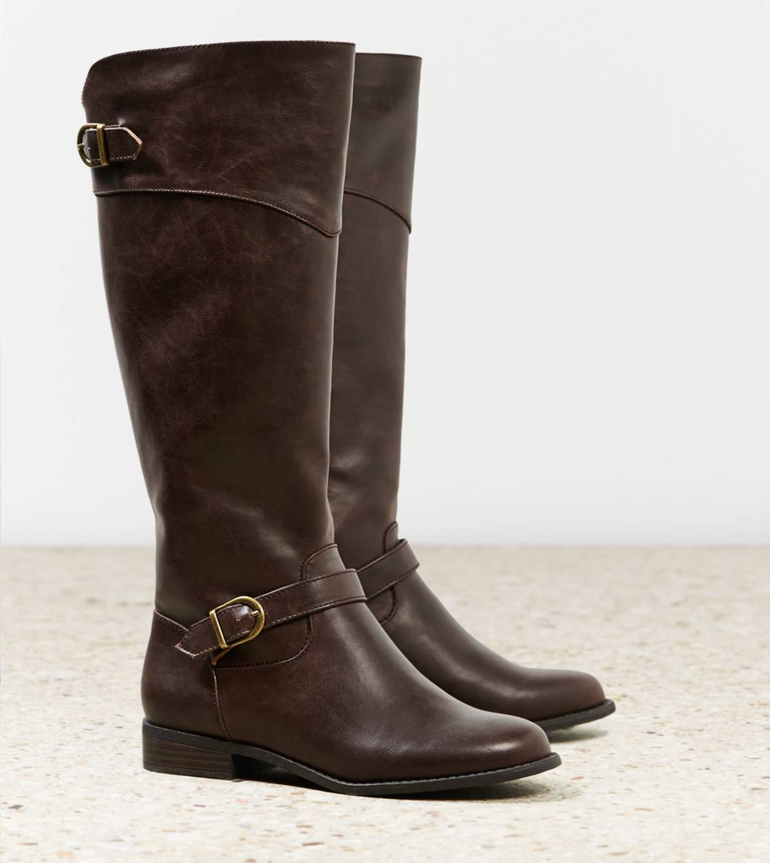 Dark Brown AEO Buckle Strap Riding Boot