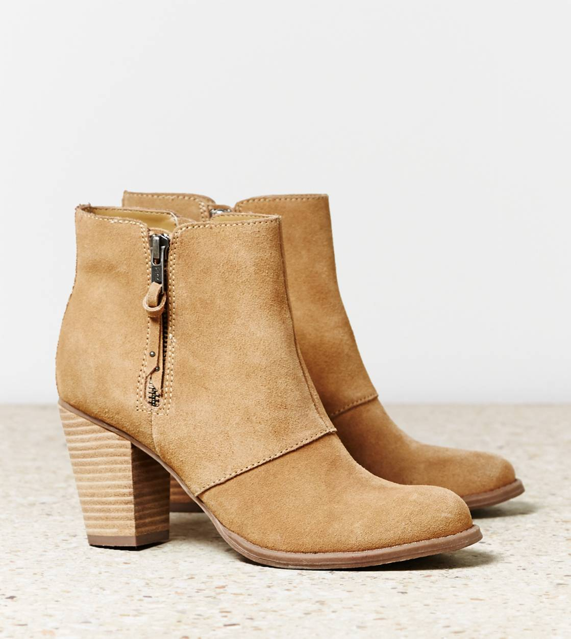 Tan AEO Double Zip Suede Bootie