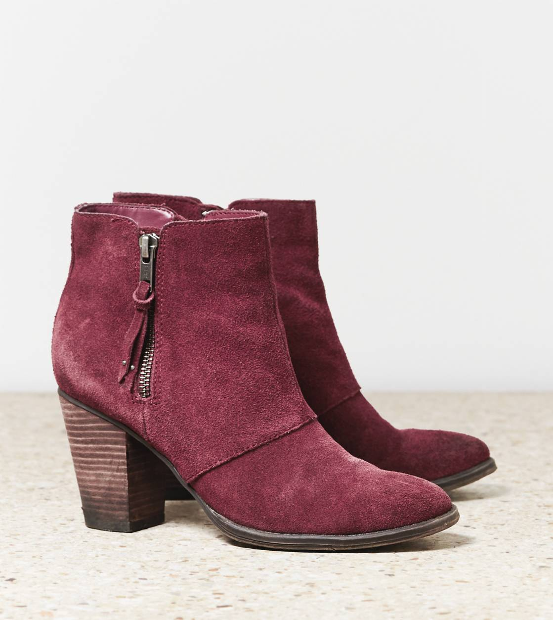 Cranberry AEO Double Zip Suede Bootie