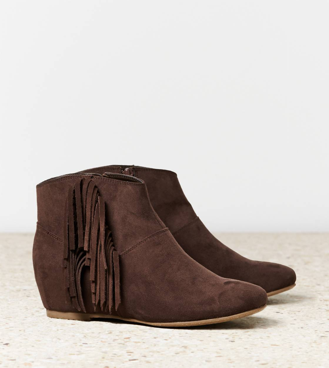 Brown AEO Fringed Bootie