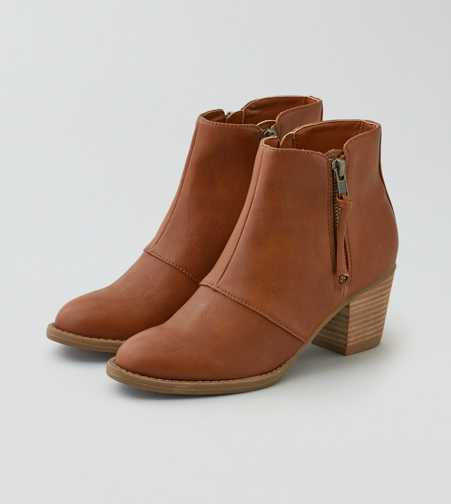 AEO Double Zip Stacked Heel Bootie